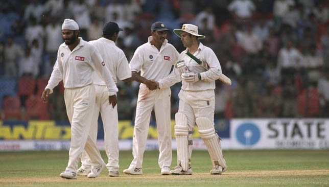Mohammad Azharuddin (c) scored a century for India