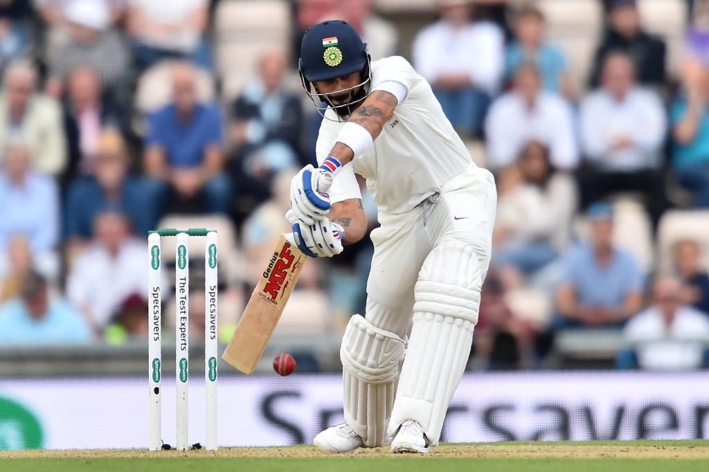 India's captain Virat Kohli bats during the second day of the fourth Test cricket match between England and India at the Ageas Bowl in Southampton, southwest England on August 31, 2018. (Photo by Glyn KIRK / AFP) / RESTRICTED TO EDITORIAL USE. NO ASSOCIATION WITH DIRECT COMPETITOR OF SPONSOR, PARTNER, OR SUPPLIER OF THE ECB (Photo credit should read GLYN KIRK/AFP/Getty Images)