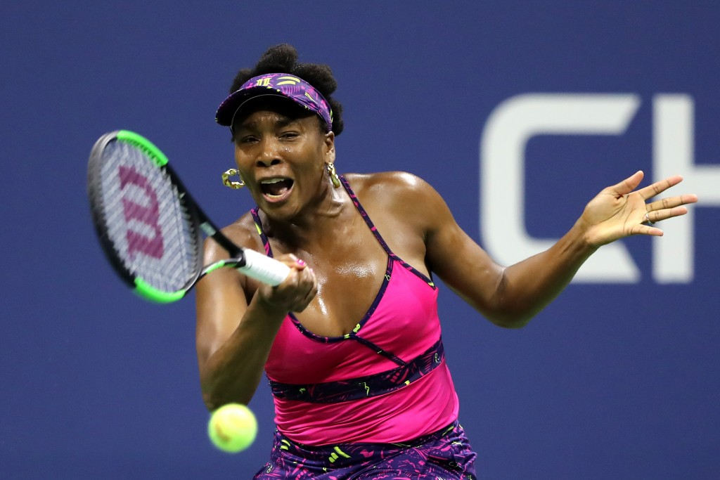 NEW YORK, NY - AUGUST 31: Venus Williams of the United States returns the ball during her women's singles third round match against Serena Williams of the United States on Day Five of the 2018 US Open at the USTA Billie Jean King National Tennis Center on August 31, 2018 in the Flushing neighborhood of the Queens borough of New York City. (Photo by Elsa/Getty Images)