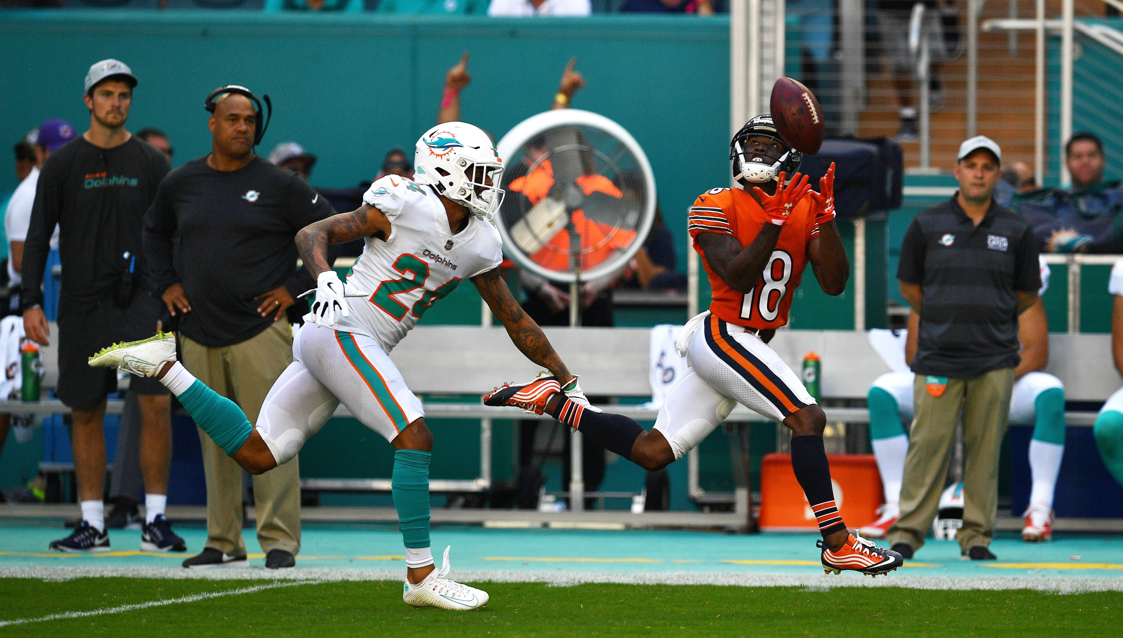 of the game at Hard Rock Stadium on October 14, 2018 in Miami, Florida.