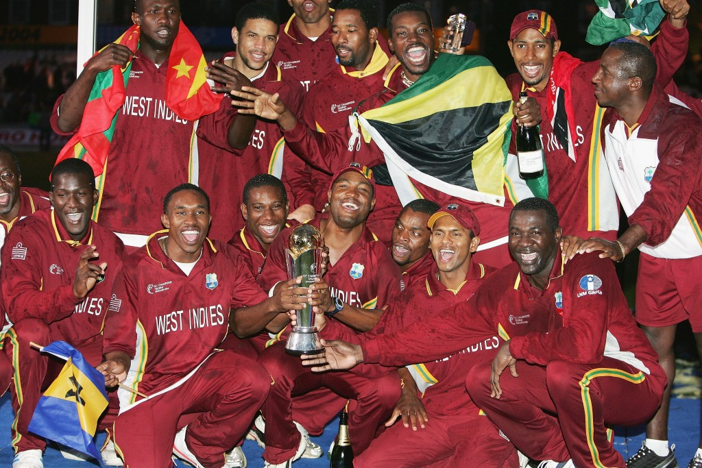LONDON - SEPTEMBER 25: Brian Lara and the West Indies team celebrate winning the Final of the ICC Champions Trophy between England and West Indies, on September 25, 2004 at the Oval in London. (Photo by Mike Hewitt/Getty Images)