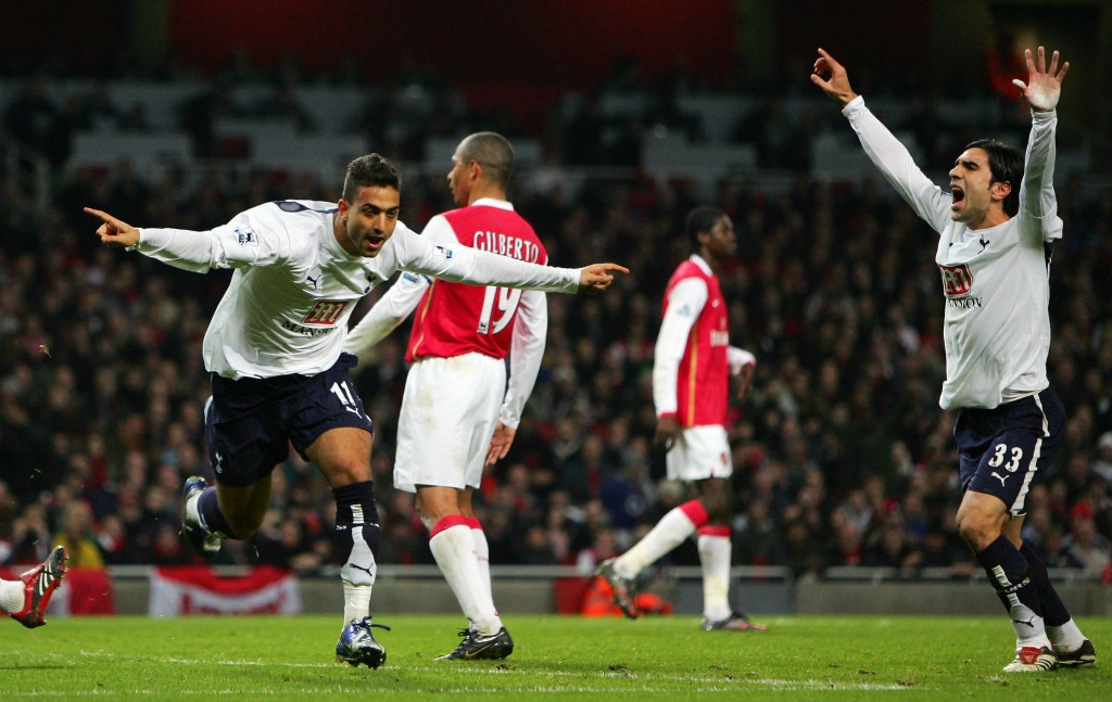 Mido (l) reacts after heading a late equaliser against Arsenal during the League Cup semi-final, second leg in January 2007.