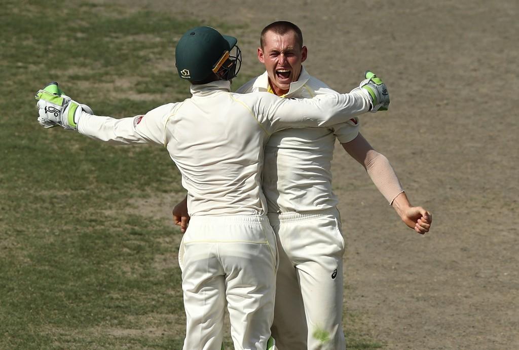 Marnus Labuschagne celebrates his first test wicket.