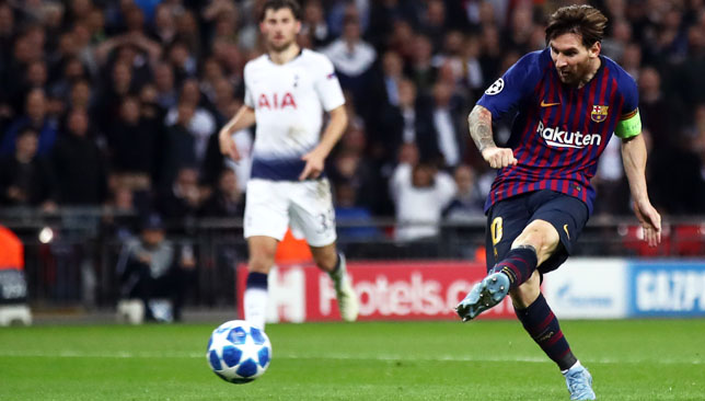 Messi scored twice against Tottenham in the Champions League on Wednesday.