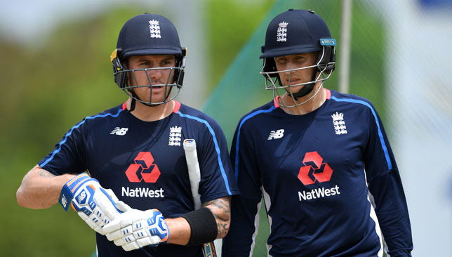 Jason Roy and Joe Root (r) in Dambulla.
