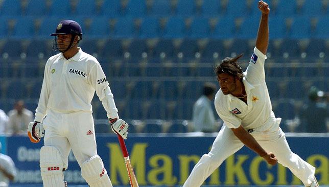 Sehwag (l) and Akhtar had many fiery duels.