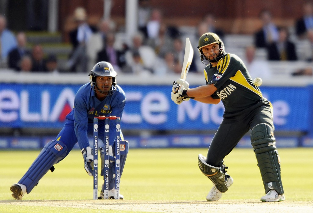 Shahid Afridi batting the ICC World Twenty20 final at Lords in 2009. The keeper is Kumar Sangakkara who will also be playing in the UAE T20X