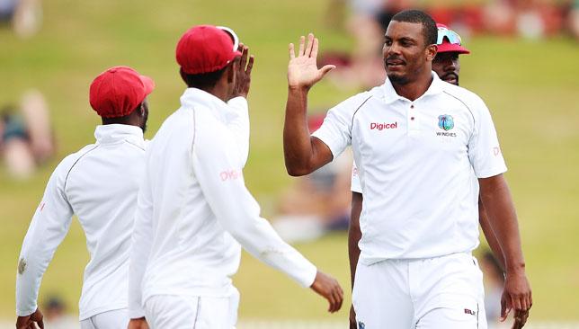 West Indies pacer Shannon Gabriel (r).