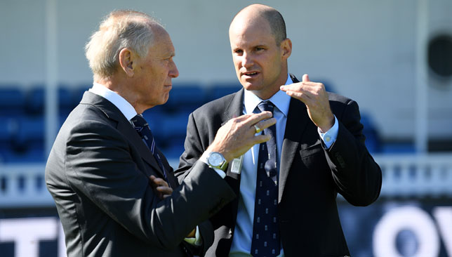 Former England captain and Director of Cricket Andre Strauss (r).
