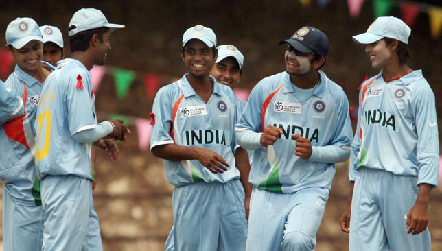 India's then U19 captain Virat Kohli (2nd r) with Ravindra Jadeja (r) at the 2008 Under-19 World Cup.