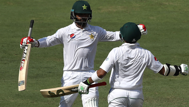Hafeez (l) scored his 10th Test ton.