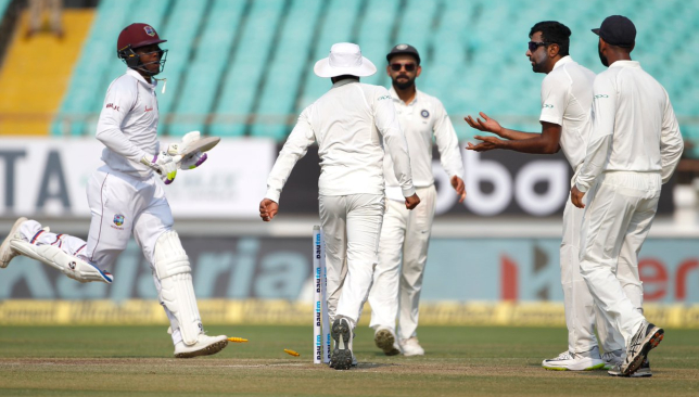 West Indies collapsing at Rajkot. Image - BCCI/Twitter.