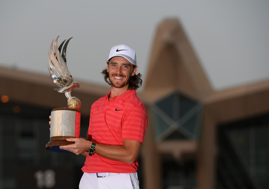 Tommy Fleetwood celebrates with the winners trophy