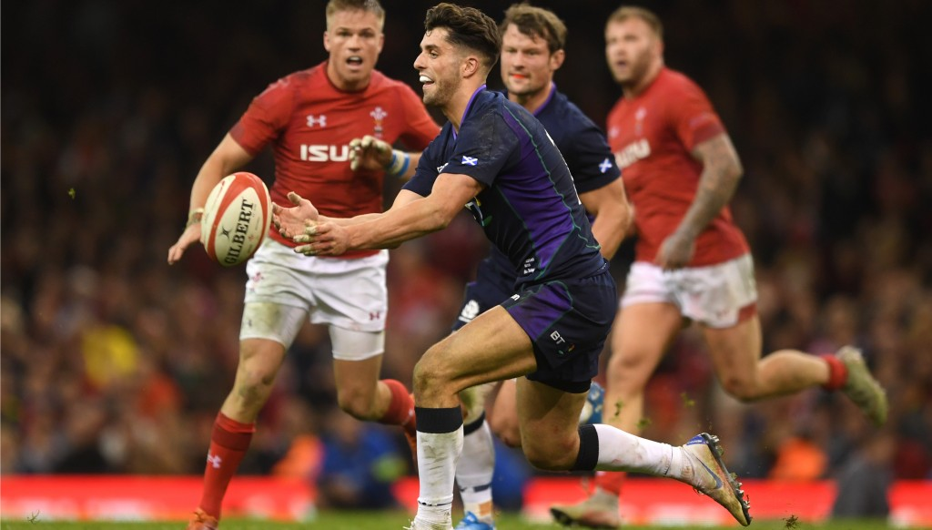 Adam Hastings - son of Scotland great Gavin - kicked five points for Scotland.