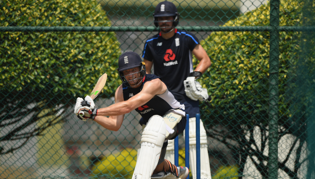 Hard at work in the nets: Jos Buttler.