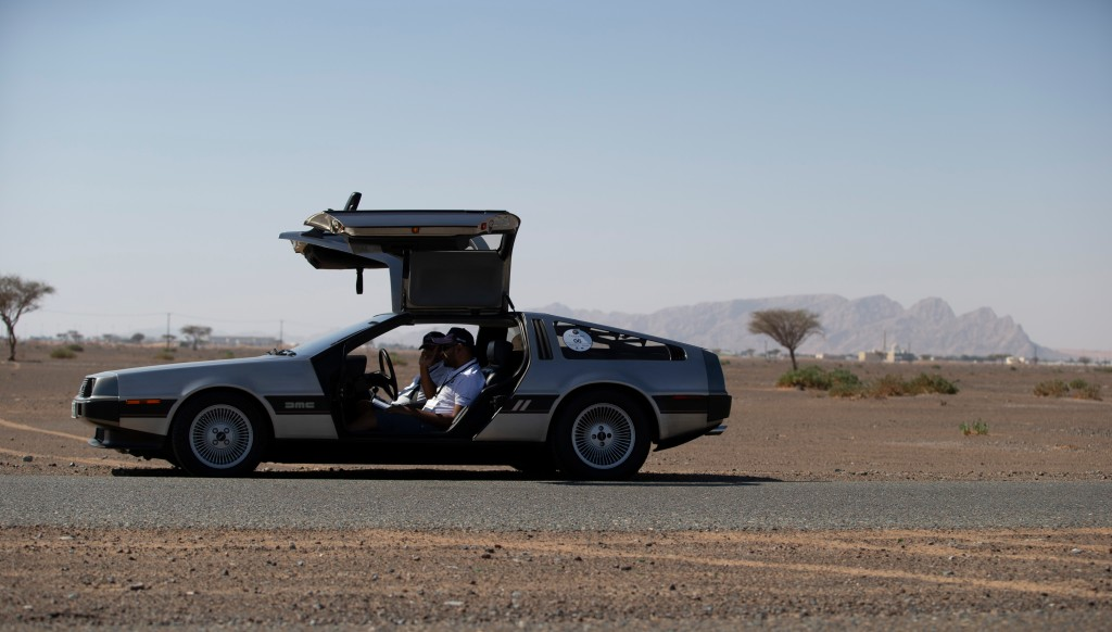 Imthishan Giado and Mohammed Giado in their 1981 Delorean, made famous by the Back to the Future films.