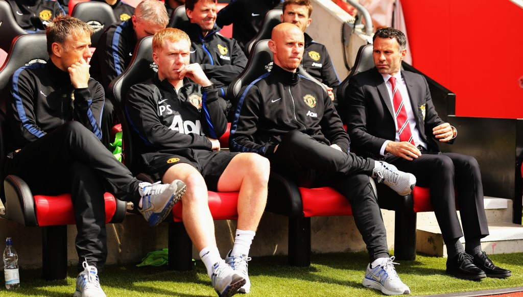 Nicky Butt (2nd r) is now a youth team coach at United, where he emerged as part of the famed Class of 92 along with Phil Neville, Paul Scholes and Ryan Giggs.