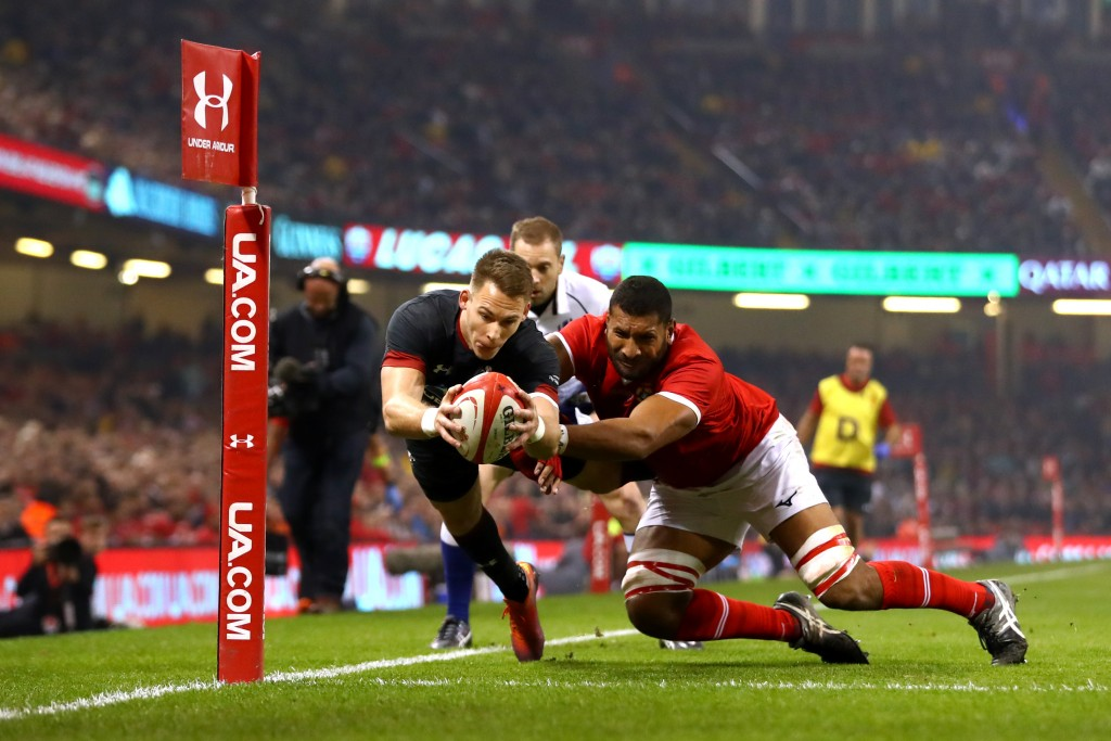 Liam Williams scores the first of his brace against Tonga