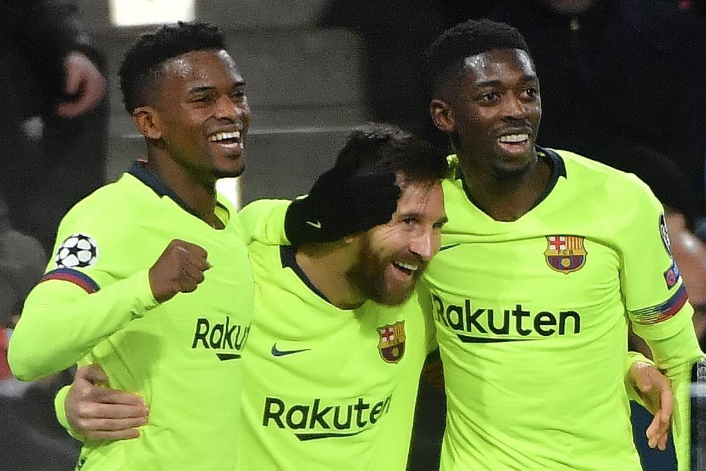 Lionel Messi and Ousmane Dembele (r) impressed against PSV.