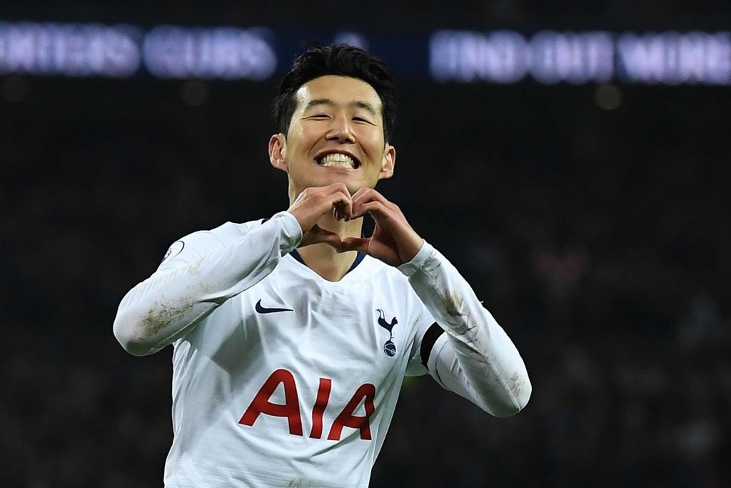 Heung-Min Son celebrates after scoring Tottenham's third