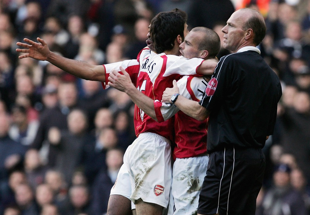 LONDON - NOVEMBER 13: Freddie Ljungberg celebrates his goal during the Barclays Premiership match between Tottenham Hotspur and Arsenal at White Hart Lane on November 13, 2004 in London, England. (Photo by Ian Walton/Getty Images)