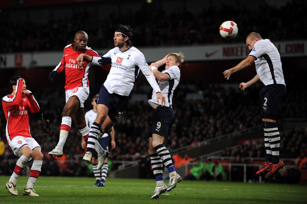 LONDON - OCTOBER 29: William Gallas of Arsenal scores the second goal for Arsenal during the Barclays Premier League match between Arsenal and Tottenham Hotspur at the Emirates Stadium on October 29, 2008 in London, England. (Photo by Shaun Botterill/Getty Images)