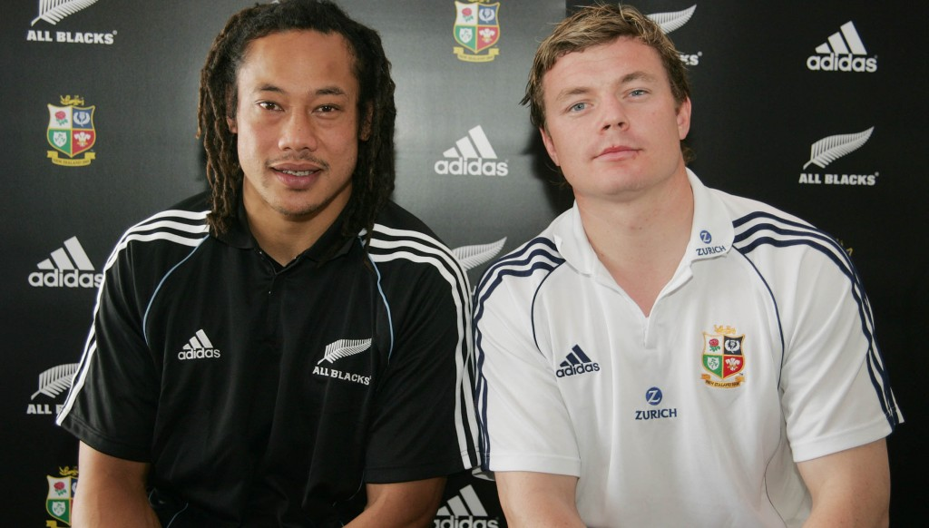 All smiles: All Black captain Tana Umaga and Lions skipper Brian O'Driscoll ahead of the 2005 series.