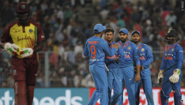 India and Windies tussle in Lucknow. Image - BCCI/Twitter.