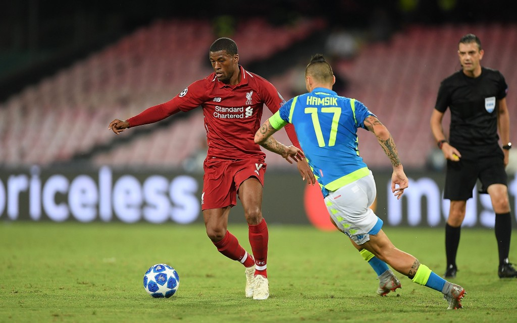 Marek Hamsik of SSC Napoli vies Georginio Wijnaldum of Liverpool during the Group C match of the UEFA Champions League between SSC Napoli and Liverpool