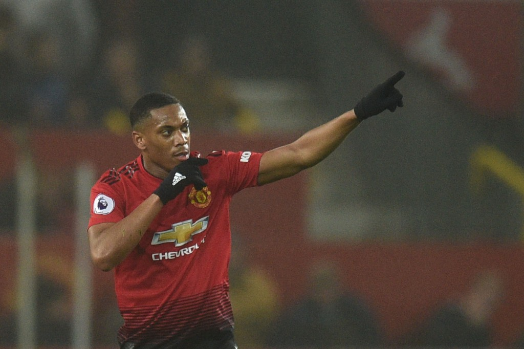 Manchester United's French striker Anthony Martial celebrates scoring their first goal to equalise 1-1 during the English Premier League football match between Manchester United and Arsenal