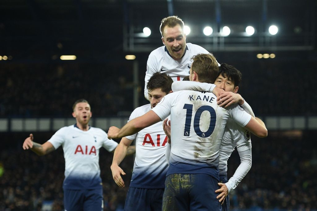 Tottenham stars celebrate