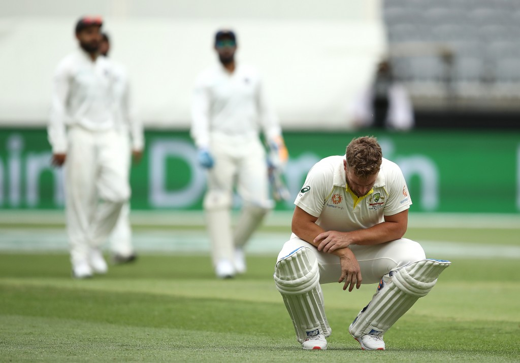 A painful one for Aaron Finch on a fast-crumbling pitch.
