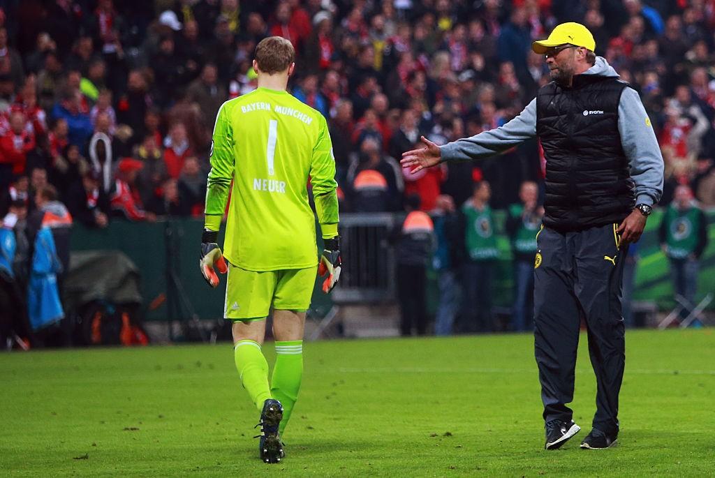 Jurgen Klopp as Dortmund boss with Bayern stopper Manuel Neuer