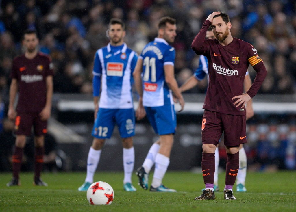 Barcelona's Argentinian forward Lionel Messi prepares to shoot a penalty kick during Barcelona's clash against Espanyol