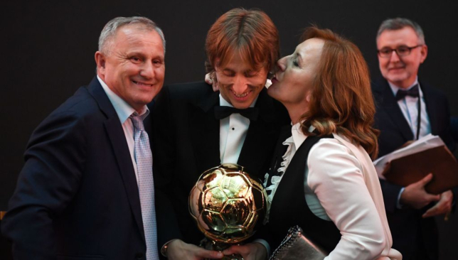 Luka Modric with his parents