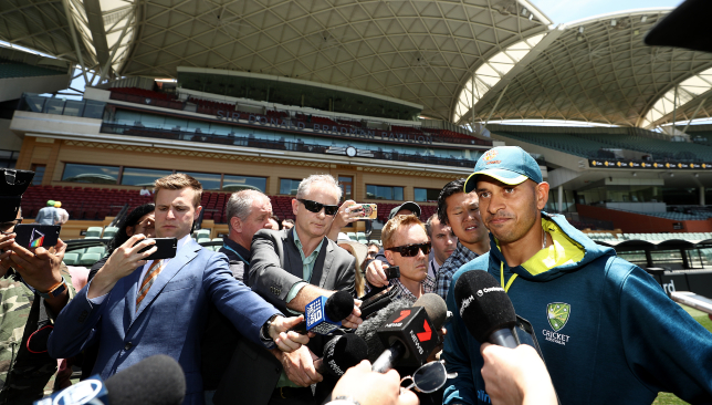 Usman Khawaja addresses the media at Adelaide Oval.