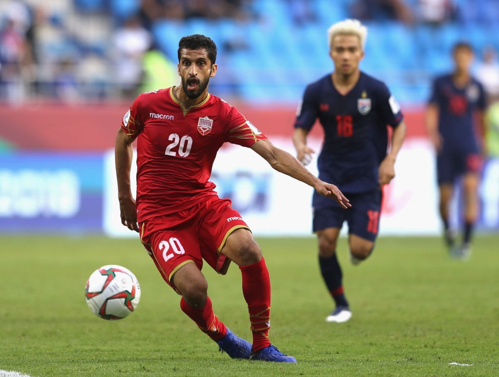 DUBAI, UNITED ARAB EMIRATES - JANUARY 10: Sami Mohamed Alhusaini of Bahrain in action during the AFC Asian Cup Group A match between Bahrain and Thailand at Al Maktoum Stadium on January 10, 2019 in Dubai, United Arab Emirates. (Photo by Francois Nel/Getty Images)