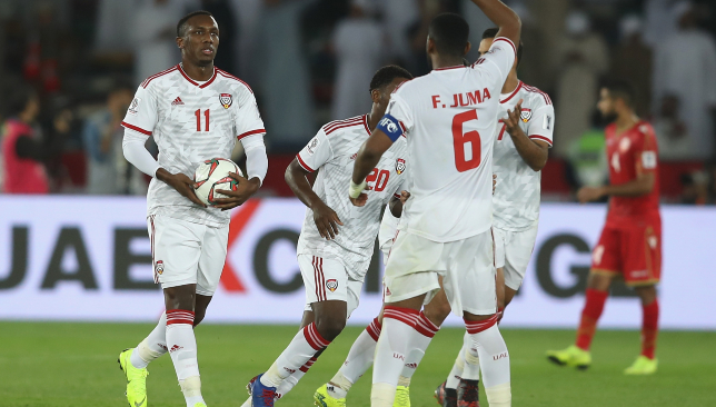 The UAE needed a late penalty from Ahmed Khalil (l) to rescue a point against Bahrain.