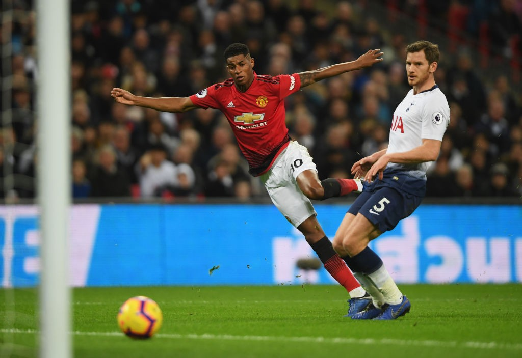 Marcus Rashford scores the winner for United at Wembley.