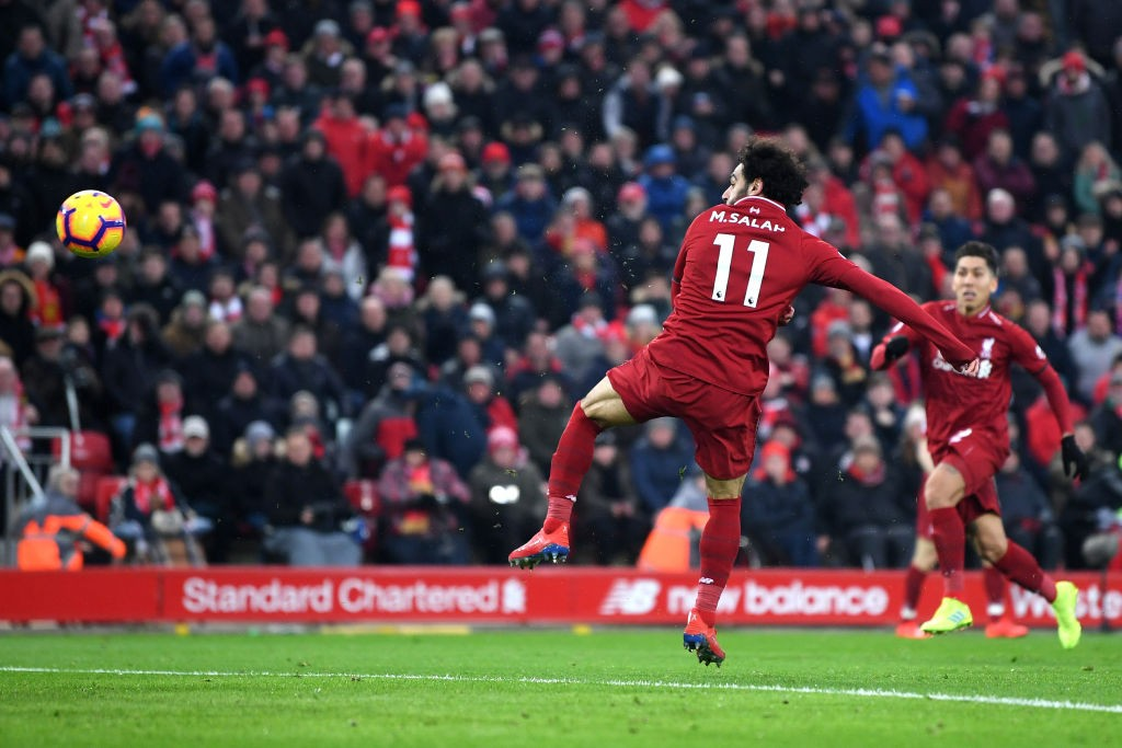 Mohamed Salah of Liverpool scores his first goal