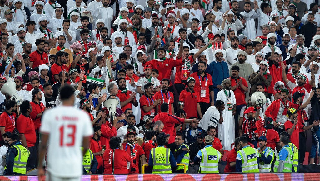 UAE fans watch on at the Mohammed bin Zayed Stadium