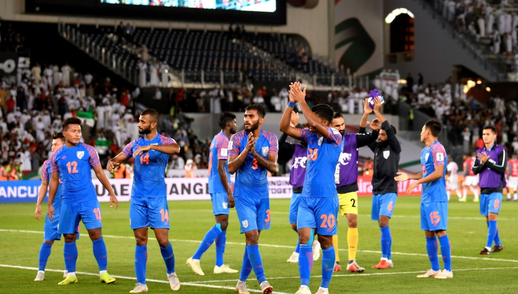 India players salute their fans at the final whistle.