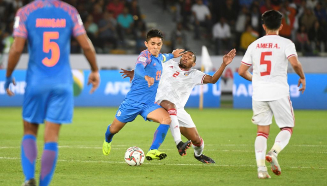 Sunil Chhetri battles against the UAE's Ali Salmeen.