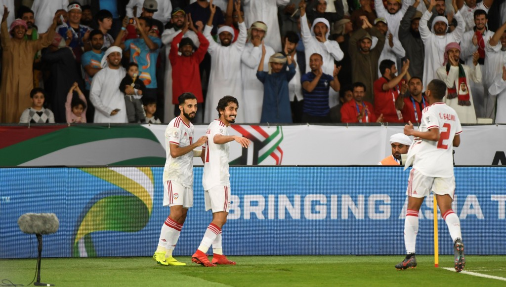 Khalfan Mubarak celebrates his goal.