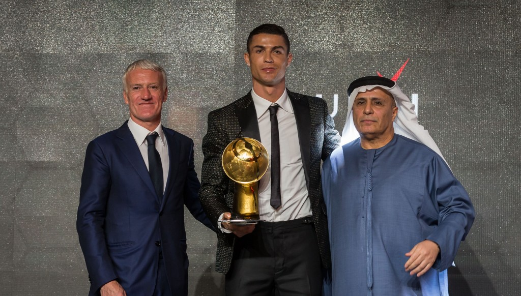 Winners: Ronaldo and Didier Deschamps picked up awards