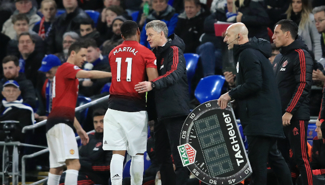 Solskjaer is without Martial for Chelsea and Liverpool.