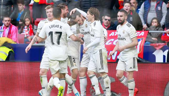 3fae7aaef87a A momentous day for Real Madrid and Gareth Bale saw a commanding 3-1 derby  triumph earned at 10-man Atletico Madrid
