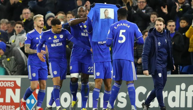 Cardiff players pay tribute to Sala after scoring the first goal against Bournemouth on Saturday.