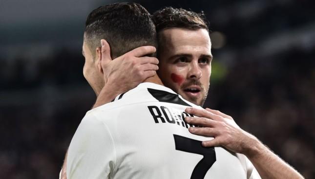 Miralem Pjanic and Cristiano Ronaldo