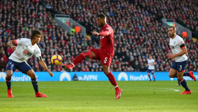 Georginio Wijnaldum scores Liverpool's second against Bournemouth